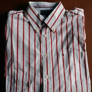 Brand new white red striped button down shirt